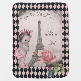 Ooh La La It's a Girl Princess Eiffel Tower Baby Blanket