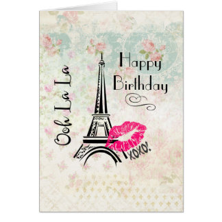 Ooh La La Paris Eiffel Tower Happy Birthday Card