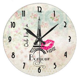 Ooh La La Paris Eiffel Tower on Vintage Pattern Clocks