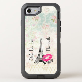 Ooh La La Paris Eiffel Tower on Vintage Pattern OtterBox Defender iPhone 8/7 Case