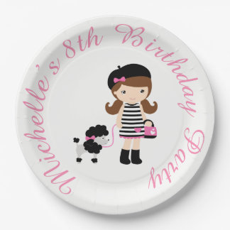 Ooh la la Paris Eiffel Tower Pink and Black Paper Plate