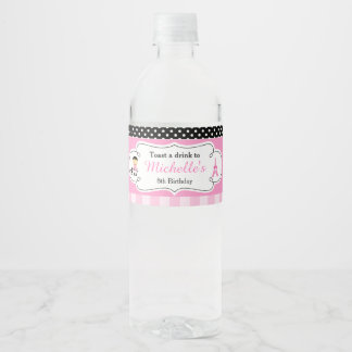 Ooh la la Paris Eiffel Tower Pink and Black Water Bottle Label
