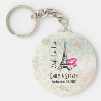 Ooh La La Paris Eiffel Tower Vintage Wedding Basic Round Button Key Ring