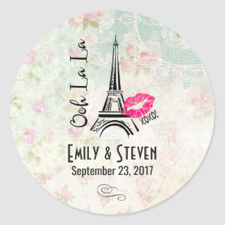 Ooh La La Paris Eiffel Tower Vintage Wedding Classic Round Sticker