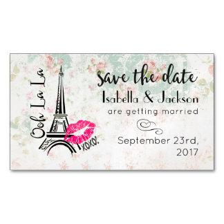 Ooh La La Paris Eiffel Tower Wedding Save The Date Magnetic Business Card