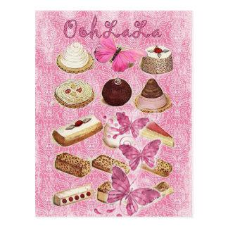 Oohlala temptation Vintage Chocolate Pink Paris Postcard
