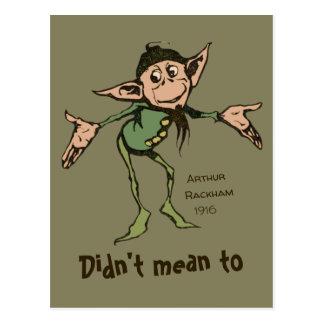 Oops! Arthur Rackham Friendly gnome Grimm CC0996 Postcard