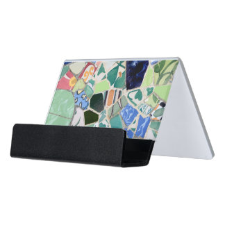 (OOS) Park Guell mosaics Desk Business Card Holder