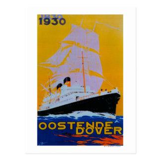 Oostende Dover Vintage PosterEurope Postcard