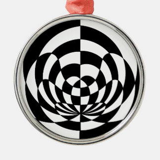 Op Art 2 Silver-Colored Round Decoration