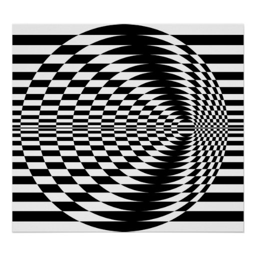 Op Art Contrasting Concentric Circles 01 Poster