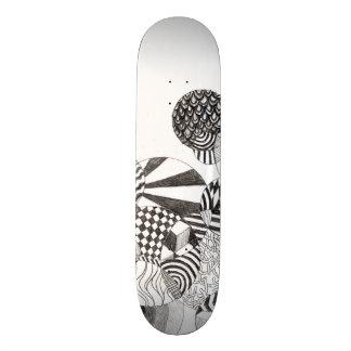 Op Art Doodle White Skate Board