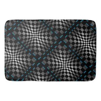 Op Art Gunmetal Grey Black Geometric Retro Modern Bath Mats