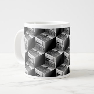 Op Art NYC Skyline BW 3D Cubes #1 Large Coffee Mug