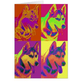 Op Art - Siberian Husky Card