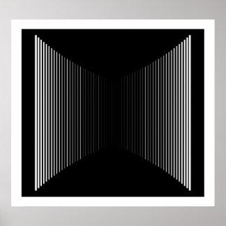 Op Art Vertical Bars White On Black Progressive 01 Poster