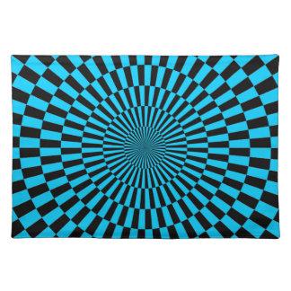 Op Art Wheel - Blue and Black Place Mat