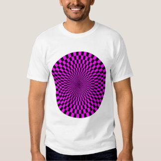 Op Art Wheel - Magenta and Black Tee Shirts