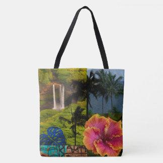 Opaeka'a Falls, Kauai Hawaiian Collage Beach Bag