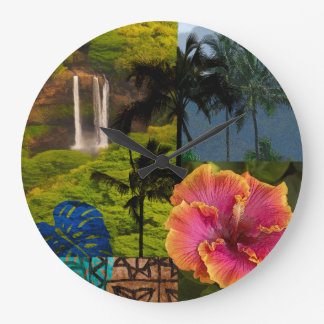 Opaeka'a Falls, Kauai Hawaiian Collage Large Clock
