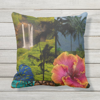 Opaeka'a Falls, Kauai Hawaiian Collage Reversible Outdoor Cushion