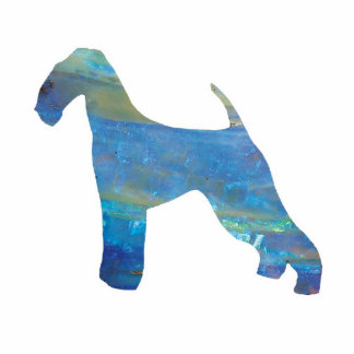 Opal Airedale Terrier Jewelry Pin Photo Sculpture Badge