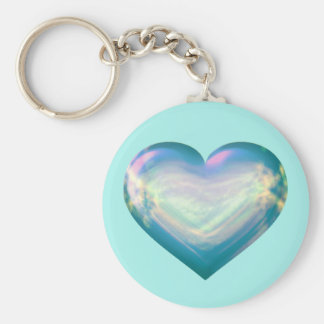 Opal satin heart basic round button key ring