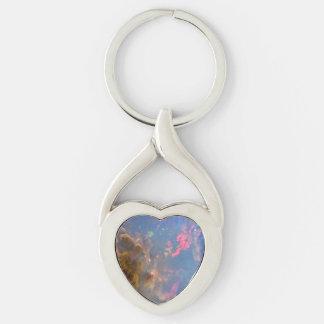 Opal Twisted Heart Metal Keychain