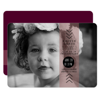 Opaque Plum Ribbon Birthday Party Photo Card