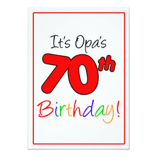 Opa's 70th Milestone Birthday Party Celebration Card