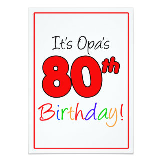 Opa's 80th Milestone Birthday Party Celebration Card