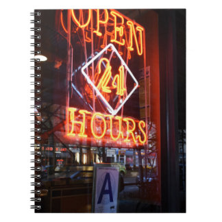Open 24 Hours Neon Diner Sign NYC Photography Spiral Notebook