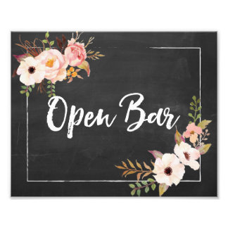 Open Bar Rustic Chalkboard Floral Wedding Sign