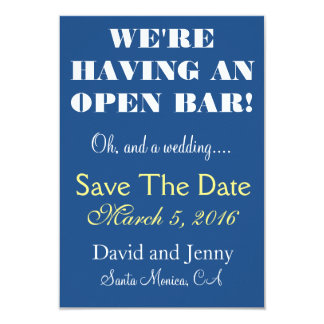 Open Bar Save the Date Card