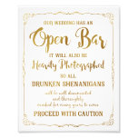 Open bar wedding sign gold glitter, wedding poster photograph