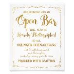Open bar wedding sign gold glitter, wedding poster photograph