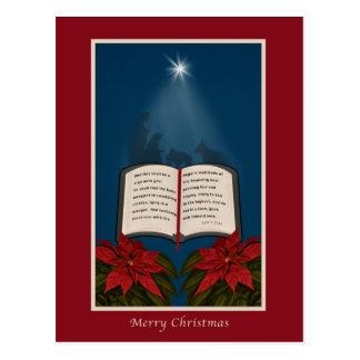Open Bible Christmas Message Postcard