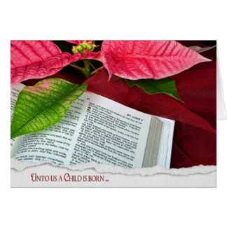 Open Bible with poinsettia Card