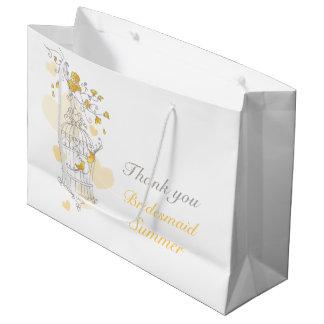 Open birdcage yellow grey wedding favor bag