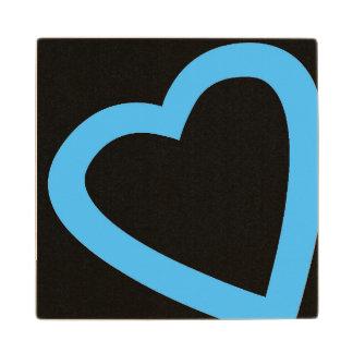 Open, blue heart wooden coaster. maple wood coaster