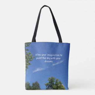 Open Blue Sky 'Painting Dreams' Inspirational Tote Bag