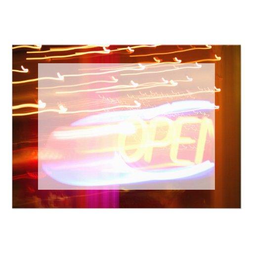 open blurred neon zoom urban photo invite
