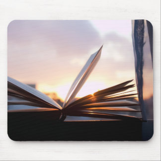 Open Book and Sunset Photograph Mouse Pad