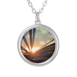 Open Book and Sunset Photography Round Pendant Necklace