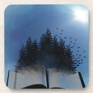 Open Book Forest Beverage Coasters