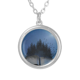 Open Book Forest Silver Plated Necklace