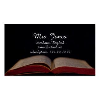 Open book teacher contact card pack of standard business cards
