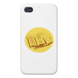 Open Book Trail Map Oval Woodcut iPhone 4 Case