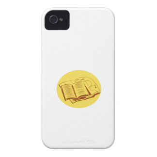 Open Book Trail Map Oval Woodcut iPhone 4 Case-Mate Cases