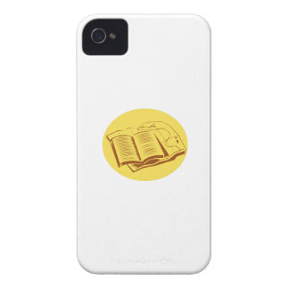 Open Book Trail Map Oval Woodcut iPhone 4 Cases
